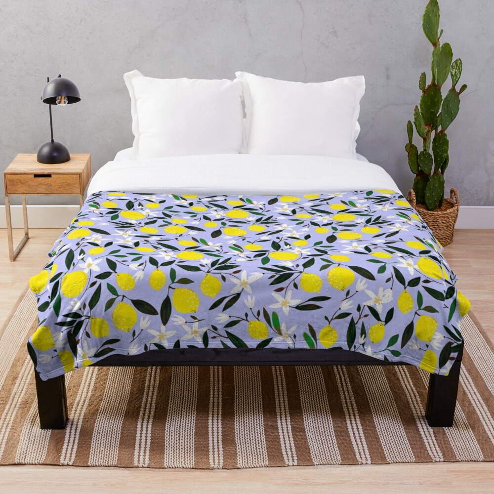 Lemons Blue Throw Blanket
