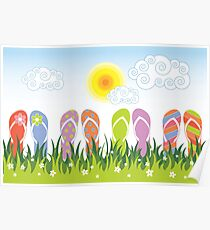 Flip Flops Having Fun In The Sun Poster