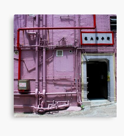 Pipes, wall, door and a bit of pavement. Canvas Print