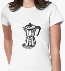 Linocut Espresso  Women's Fitted T-Shirt