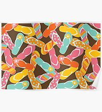 Colorful Summer Fun Flip Flops Pattern Poster