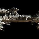Interstellar Escort Frigate Space Ship - side view by algoldesigns