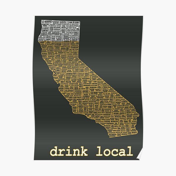 Drink Local - California Beer T-shirt Poster