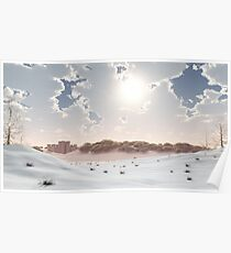 Distant Castle in the Winter Snow Poster