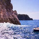 Lone Row Boat Along Amalfi Coast Italy by daphsam