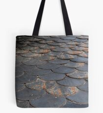 Natural stone shingles used for roofing. Tote Bag