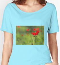 Israel, Close up of bud of a red Anemone coronaria Women's Relaxed Fit T-Shirt