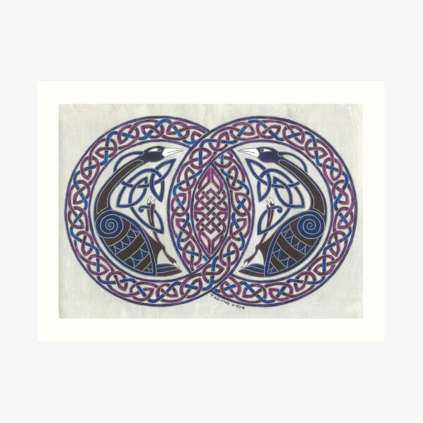 two birds in knotwork circles Art Print