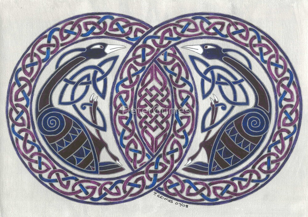 two birds in knotwork circles by PeterGrimes
