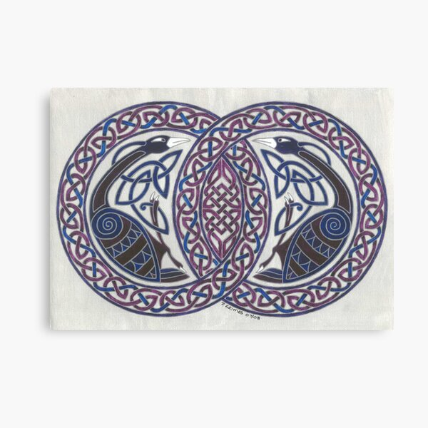 two birds in knotwork circles Canvas Print