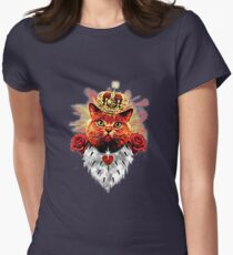 Red Cat King Queen Crown Roses Love Heart T-Shirt