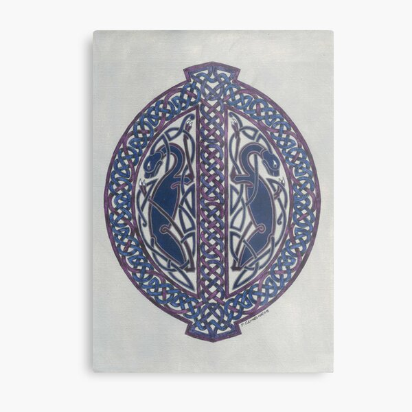 two dogs in knotwork oval Metal Print