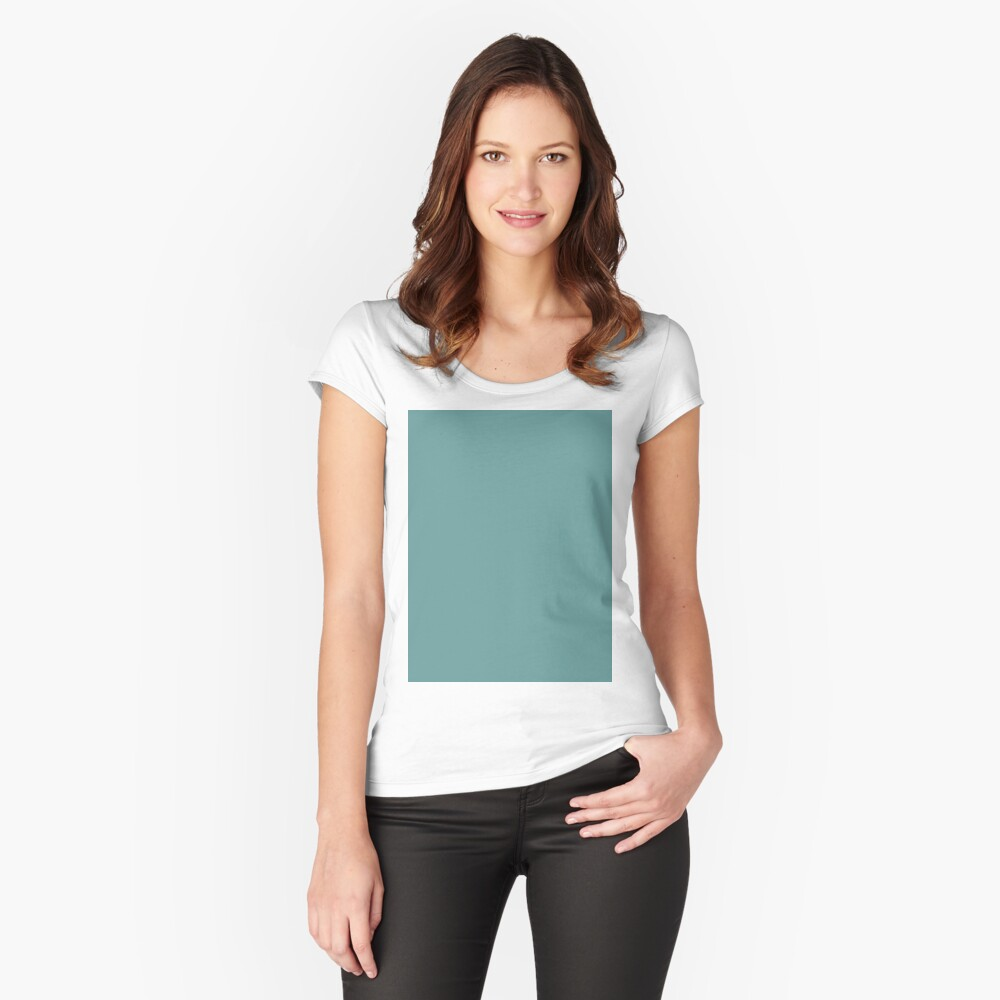 Solid Colour | Desaturated Cyan | Blue |Aqua Fitted Scoop T-Shirt