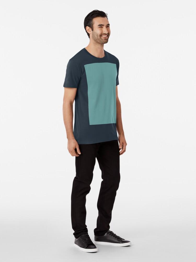 Alternate view of Solid Colour | Desaturated Cyan | Blue |Aqua Premium T-Shirt