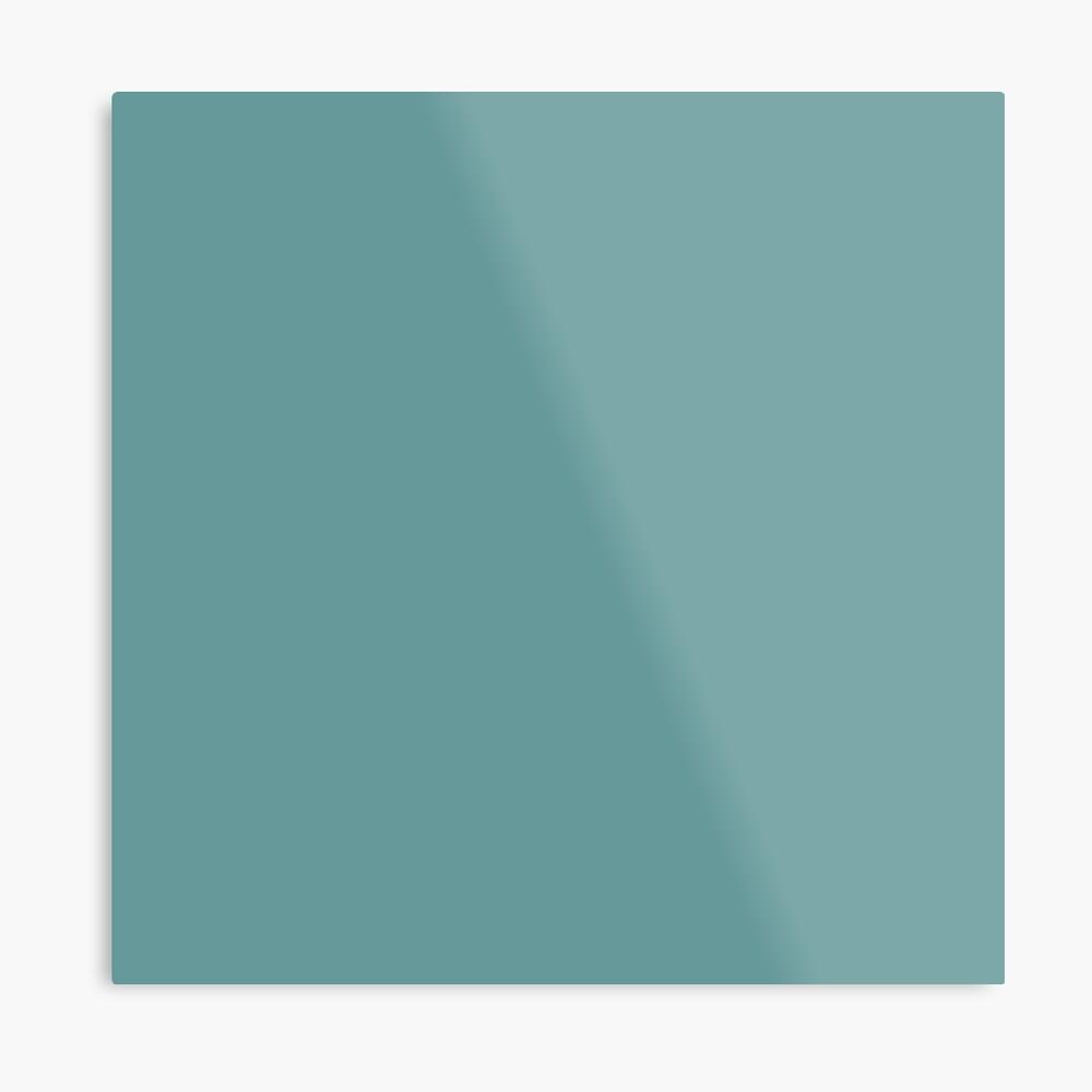 Solid Colour | Desaturated Cyan | Blue |Aqua Metal Print