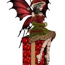 Christmas Fairy Elf Girl Sitting on a Present by algoldesigns