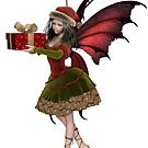 Christmas Fairy Elf Girl Holding a Gift by algoldesigns