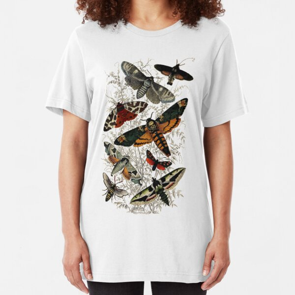 Victorian Moth Insects illustration Slim Fit T-Shirt
