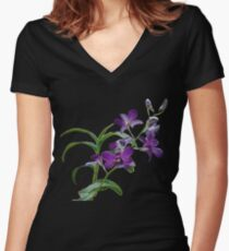Orchids #1 Women's Fitted V-Neck T-Shirt