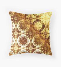 Golden Oriental Design Throw Pillow