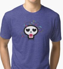 Pucker up skull heart eyes flowers Valentines Day Tri-blend T-Shirt