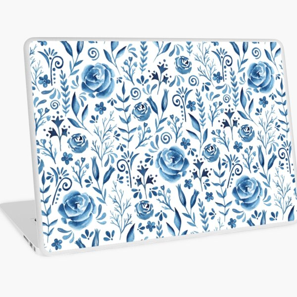 Blue flowers pattern Laptop Skin
