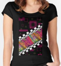 Psychedelic Moonstone Marble Colorful Abstract 80's Grid Neon World Women's Fitted Scoop T-Shirt