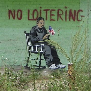 BANKSY, Graffiti Artist, Street Artist, Work on building in the Lower 9th Ward of New Orleans, August 2008 by TOMSREDBUBBLE