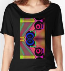 Neon alien sci fi vortex swirls abstract weird design  Women's Relaxed Fit T-Shirt