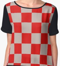 Red Checkers - Red Racing Flag - Chess Pattern Women's Chiffon Top