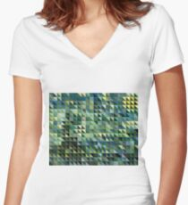 Digital Checkers - Cross Hatching Women's Fitted V-Neck T-Shirt