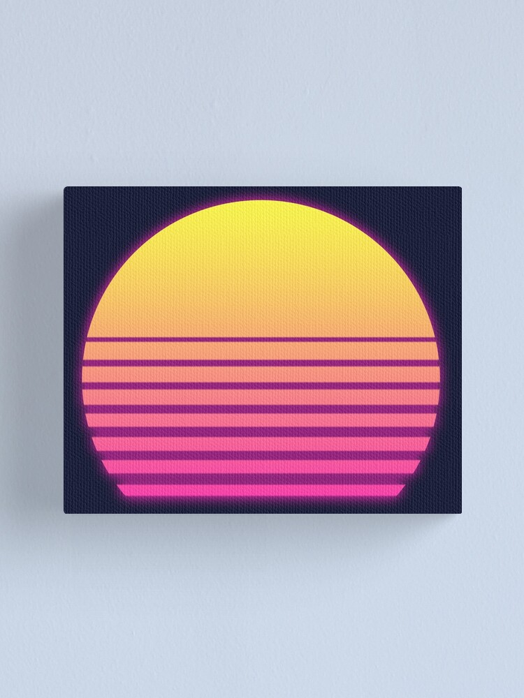 Alternate view of Synthwave Sun Canvas Print