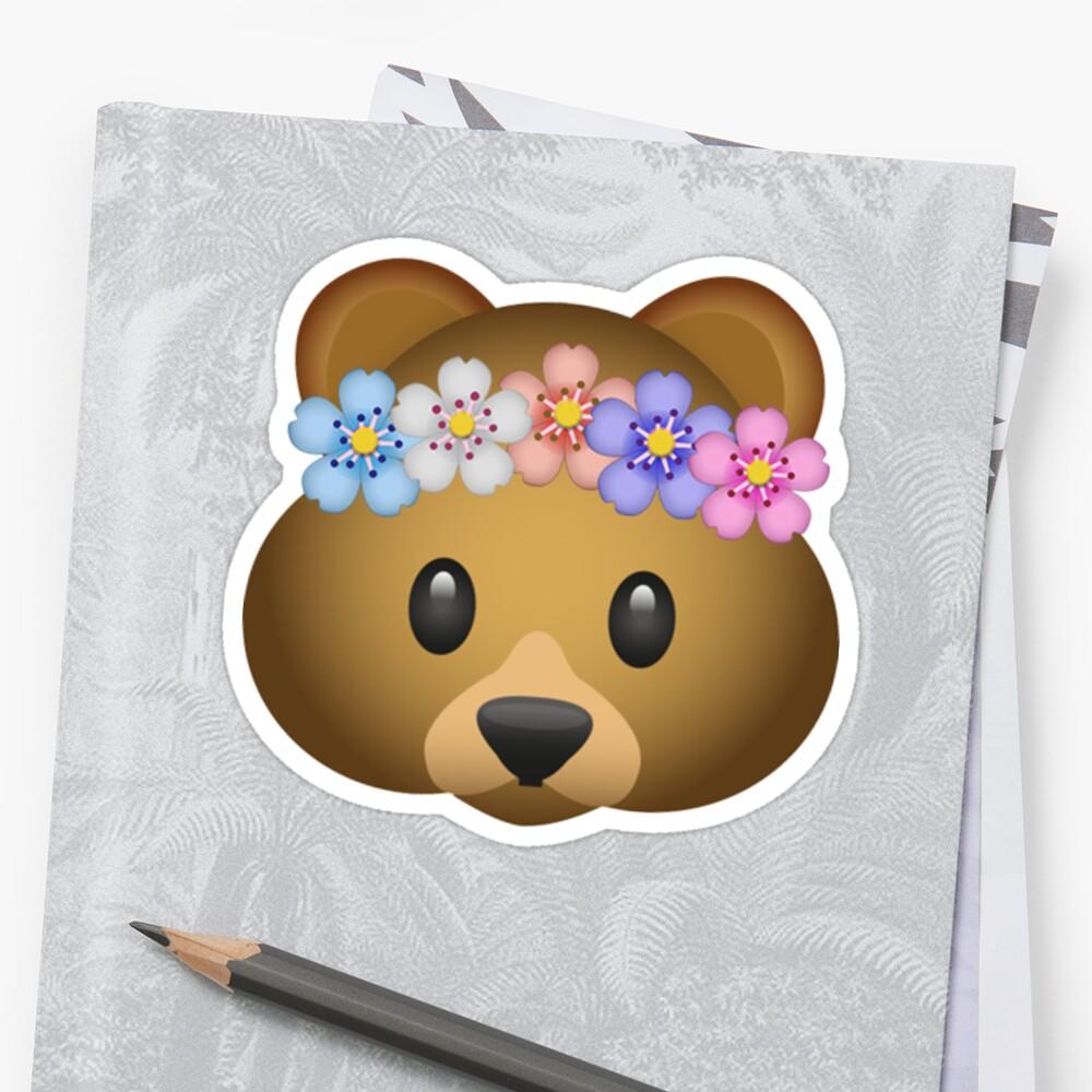 Cute Hippie Bear Flower Crown Secret Emoji Funny Internet Meme