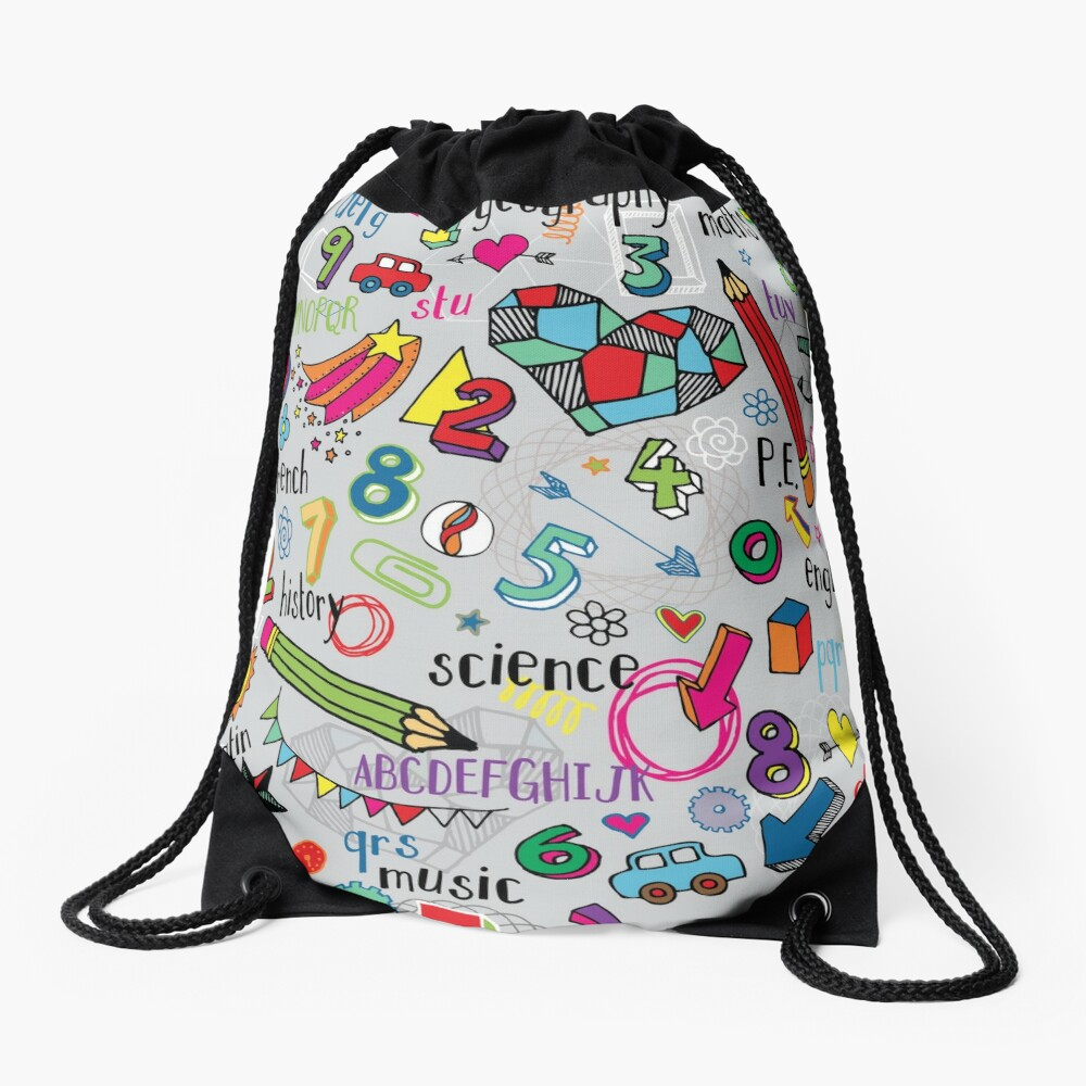 Back to School - fun pattern by Cecca Designs Drawstring Bag Front