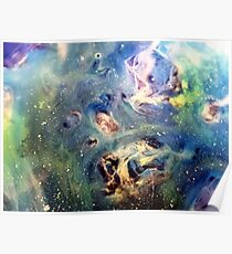 Constellation Dragon Abstract Watercolor Painting Poster