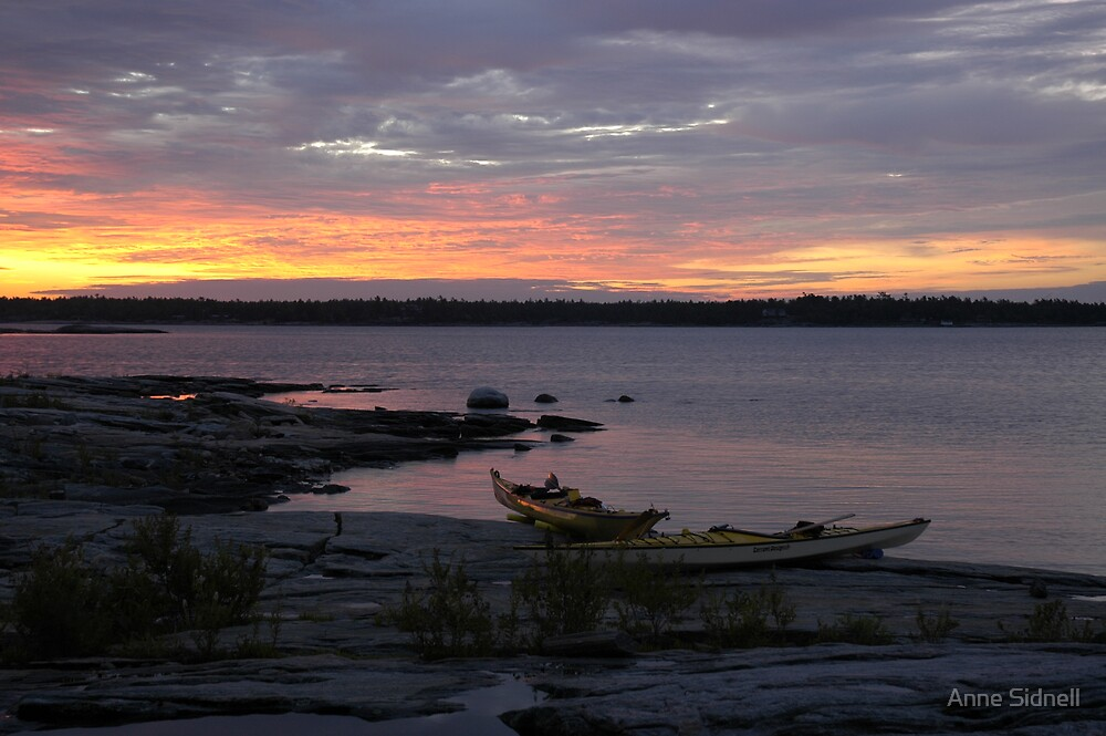 Kayaks at dawn. by Anne Sidnell