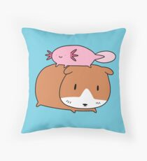 Axolotl and Guinea Pig Throw Pillow