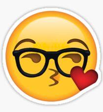 Kissy Face Nerd Secret Emoji | funny internet meme Sticker