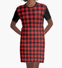 Buffalo Check Red And Black Plaid Graphic T-Shirt Dress