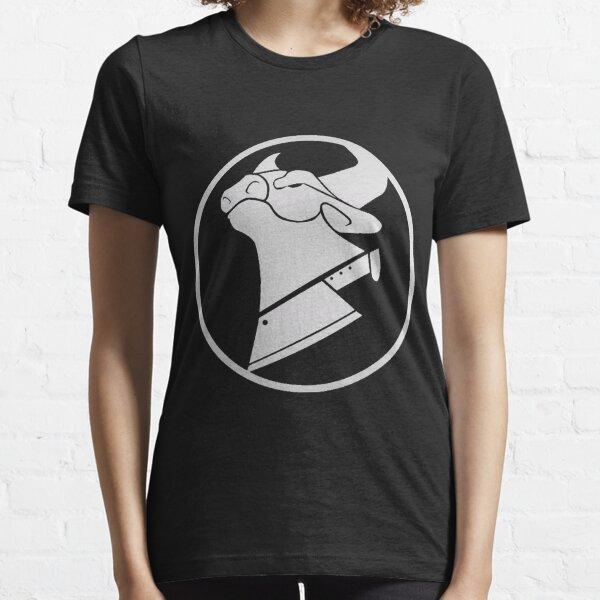 Cow Chop Logo White on Black Essential T-Shirt