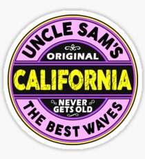 SURFING CALIFORNIA THE BEST WAVES SURF SURFER UNCLE SAM'S WAX 2 Sticker