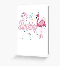 Flamingo Flocking Party  Greeting Card