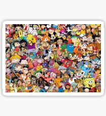 Collage of 90's and 2000's cartoons from Nickelodeon, Disney Channel, Cartoon Network, Jetix, Disney XD, and more Sticker