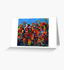 Red and Blue, semi-abstract oil on canvas Greeting Card