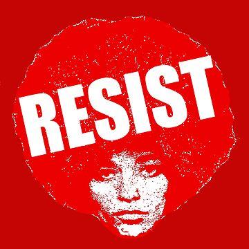 HD. Angela Davis - Resist (red version) by mindthecherry