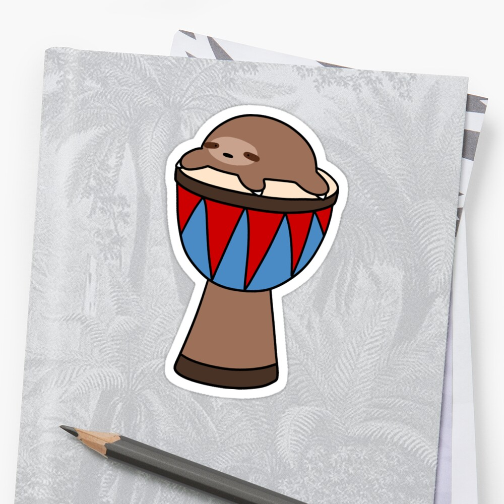 Little Sloth and Djembe Sticker