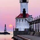 Michigan City Light and Sundown Sailboat by Kenneth Keifer