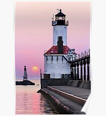 Michigan City Light and Sundown Sailboat Poster