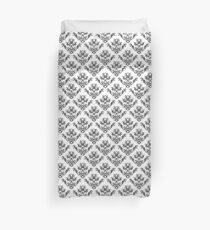 Damask Brocade in Monochrome Black and White Duvet Cover