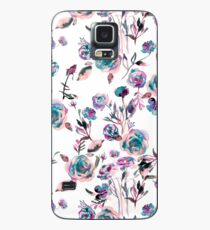 Romantic roses bouquet watercolor - Blue and mauve flowers Case/Skin for Samsung Galaxy